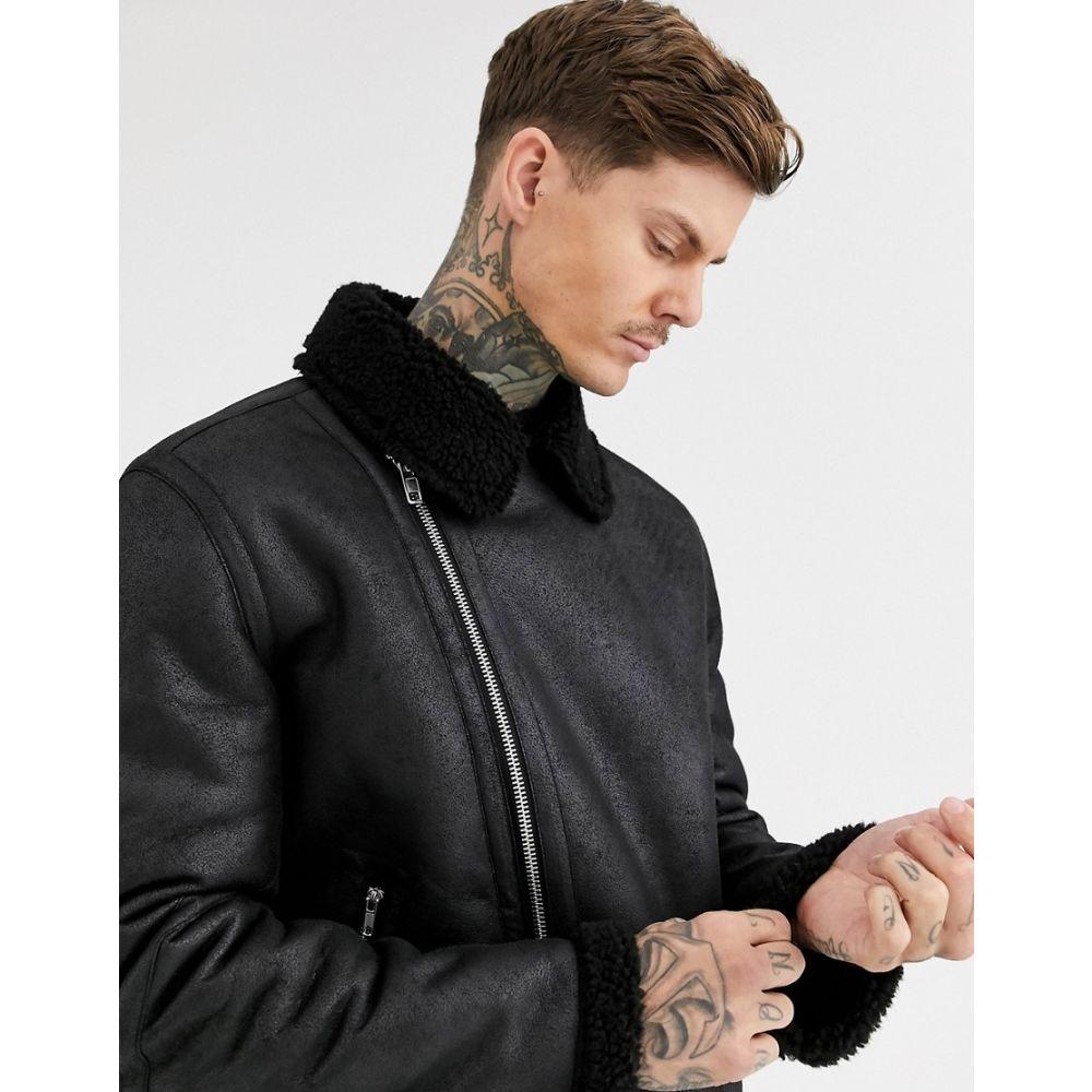 メンズファッション, コート・ジャケット  ASOS DESIGN faux shearling biker jacket with borg lining in blackBlack