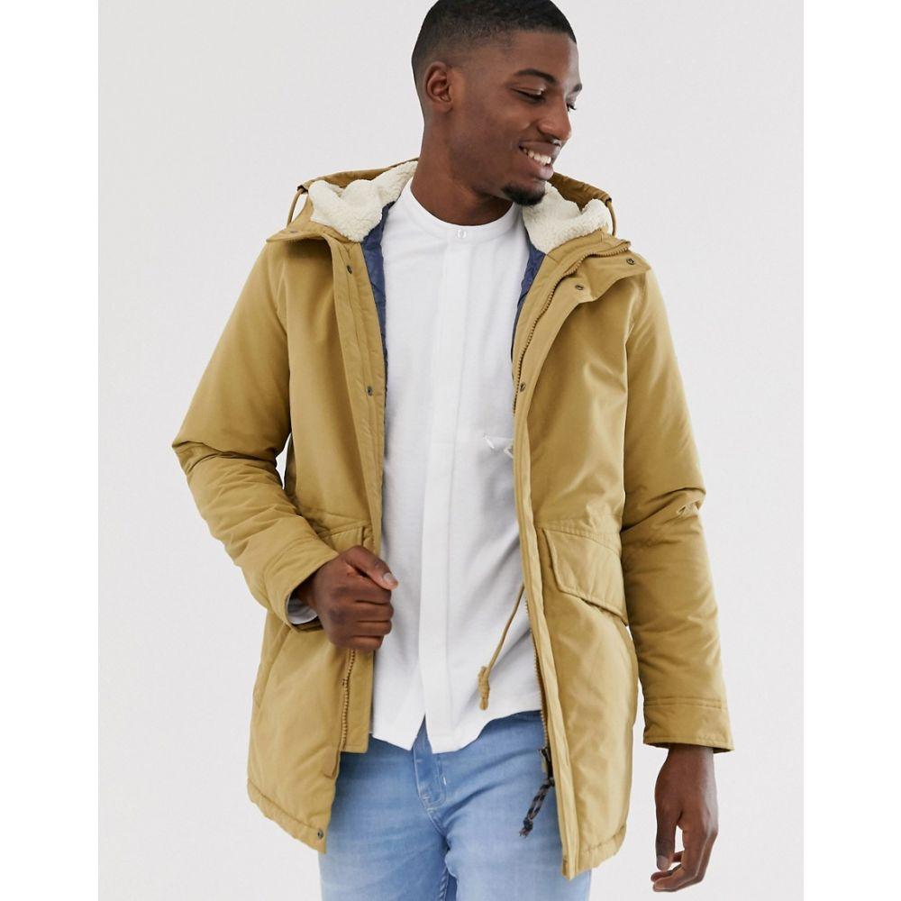 メンズファッション, コート・ジャケット  Jack Jones premium stone parka with borg lining anddouble pocketsKelp
