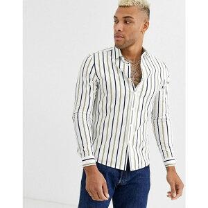 エイソス ASOS DESIGN メンズ シャツ トップス【skinny stripe shirt in white】White