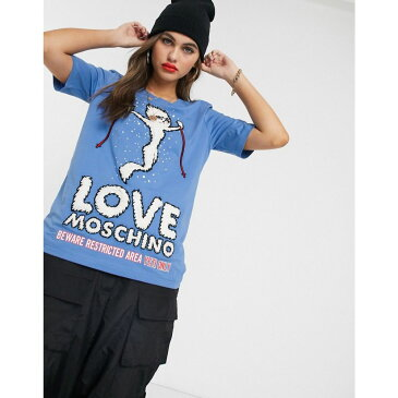 モスキーノ Love Moschino レディース Tシャツ トップス【winner print logo t-shirt】Y blue