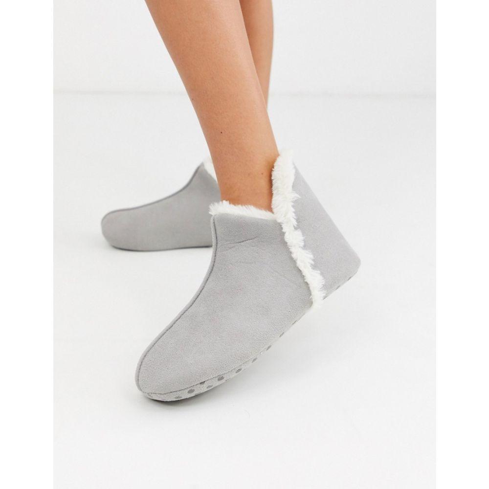 レディース靴, その他  Lindex faux suede short slipper boot in greyGrey