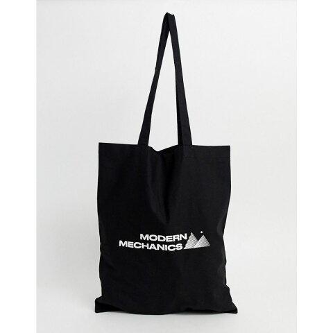 エイソス ASOS DESIGN メンズ トートバッグ バッグ【tote bag with modern mechanics print】Black