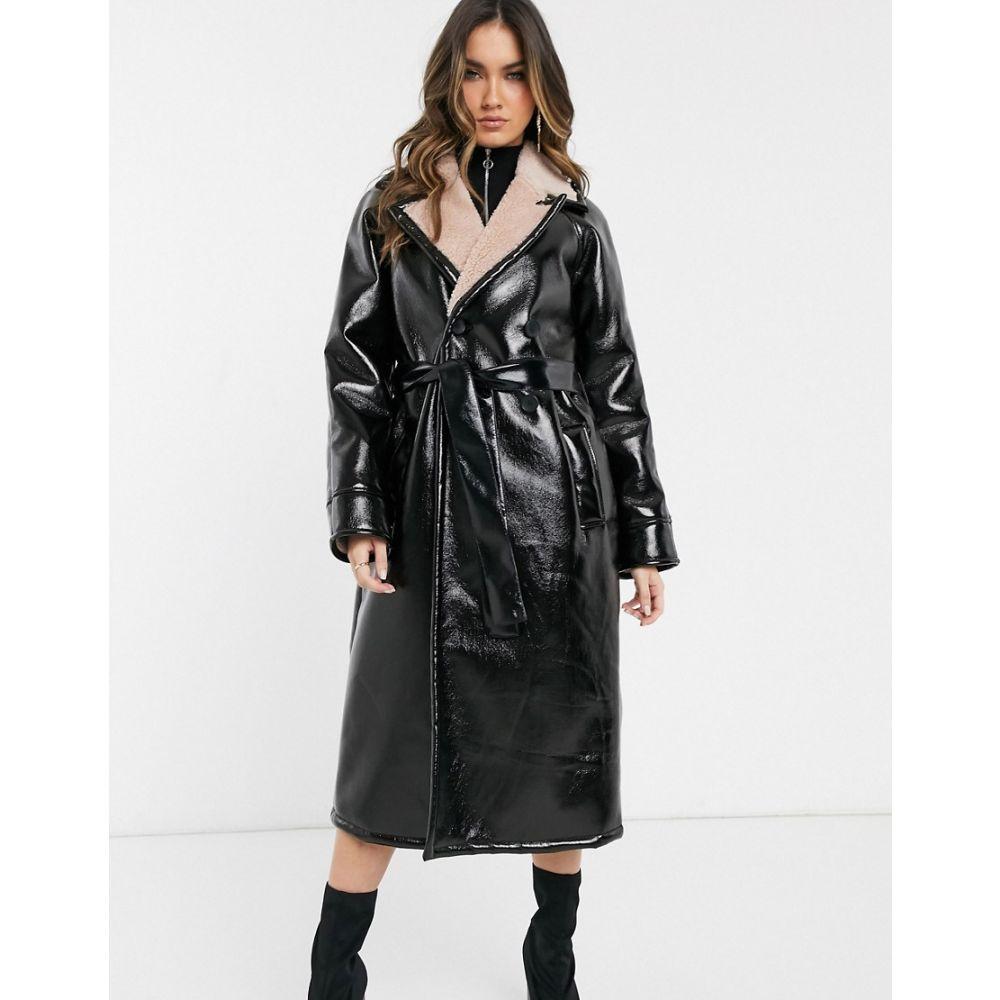 レディースファッション, コート・ジャケット  ASOS DESIGN vinyl borg bonded trench coatBlack