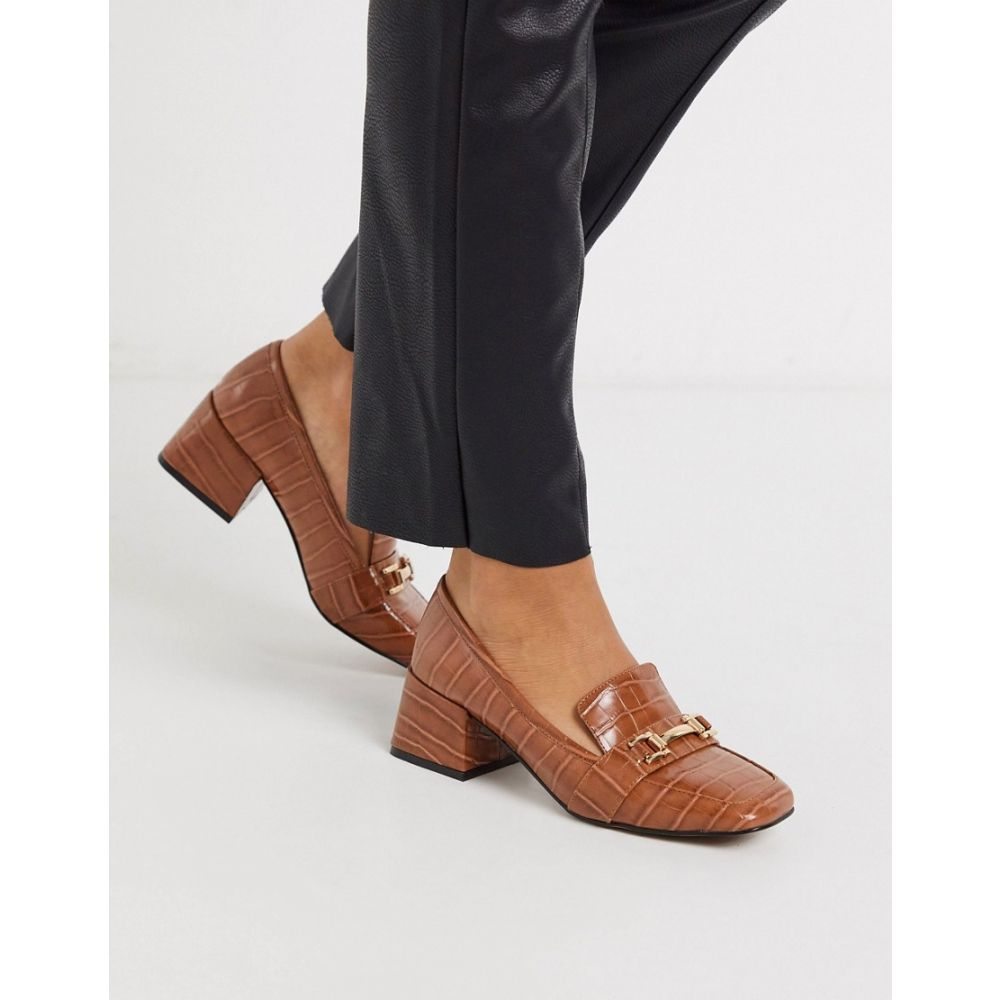 レディース靴, ローファー  ASOS DESIGN Simba mid-heeled loafers in conker crocConker croc