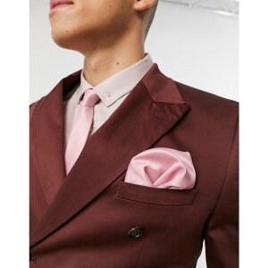 エイソス ASOS DESIGN メンズ ハンカチ・チーフ 【satin slim tie & pocket square in pink】Pink