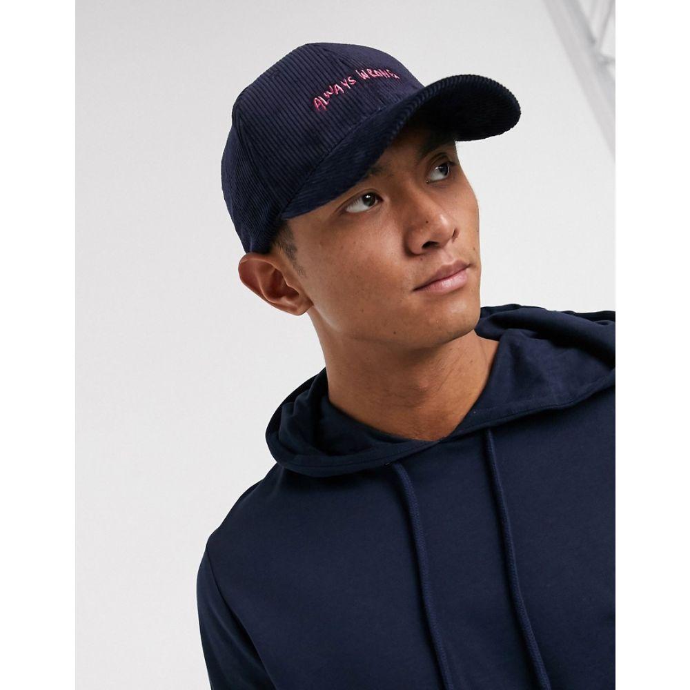 メンズ帽子, キャップ  ASOS DESIGN cord baseball cap in navy with pink slogan embroideryNavy