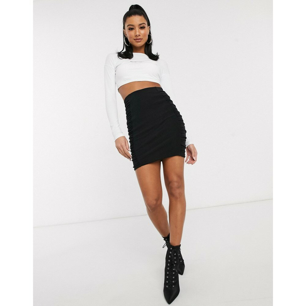 ボトムス, スカート  ASOS DESIGN mini skirt with ruched side panels in blackBlack