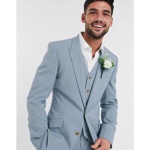 エイソス ASOS DESIGN メンズ スーツ・ジャケット アウター【wedding skinny suit jacket in crosshatch in soft blue】Blue