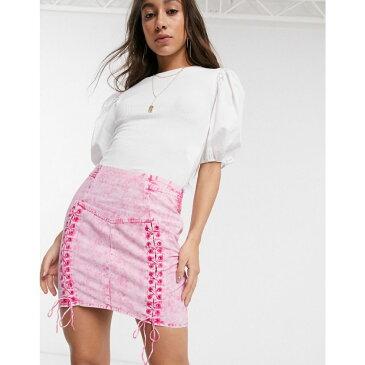 エイソス ASOS DESIGN レディース ミニスカート スカート【corset detail mini skirt in washed pink】Neon pink
