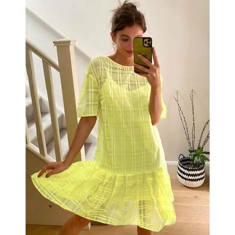 ロストインク Lost Ink レディース ワンピース ミニ丈 ワンピース・ドレス【drop waist mini smock dress with pleated skirt in check organza】Yellow check
