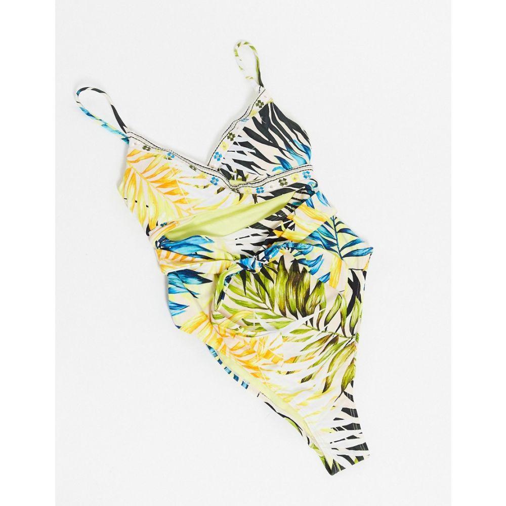 レディースファッション, 水着  River Island leaf print tie wrap cami swimsuit in blueBlue
