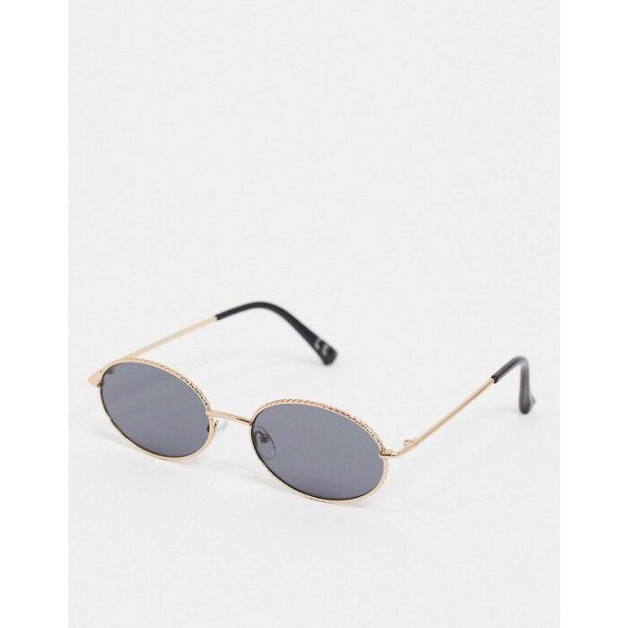 エイソス ASOS DESIGN メンズ メガネ・サングラス ラウンド【round sunglasses in gold with rim detail and smoke lens】Gold
