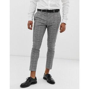 リバーアイランド River Island メンズ スラックス ボトムス・パンツ【super skinny cropped smart trousers in grey check】Grey
