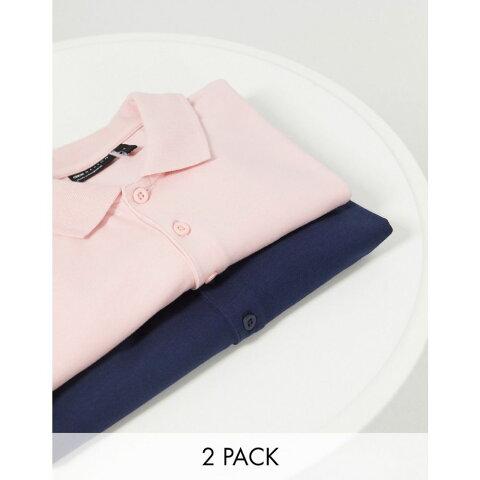 エイソス ASOS DESIGN メンズ ポロシャツ 2点セット トップス【2 pack organic muscle fit polo】Peachskin/navy