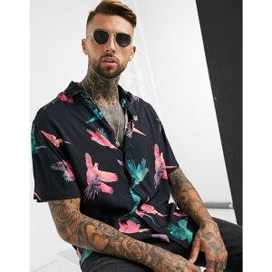 シックシルク SikSilk メンズ シャツ トップス【high collar resort shirt in bird print】Multi