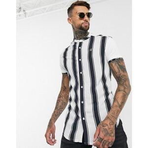 シックシルク SikSilk メンズ シャツ トップス【high collar resort shirt in stripe】Stripe