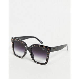 キー オーストラリア Quay Australia メンズ メガネ・サングラス 【Quay x Lizzo Icy oversized sunglasses in black with studs】Black