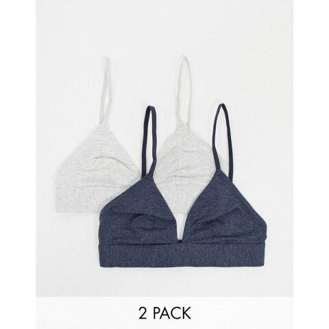 ドリーナ Dorina レディース ブラレット 2点セット インナー・下着【Lila 2 Pack Organic Cotton Triangle Bralette In Grey/Navy】Grey/navy