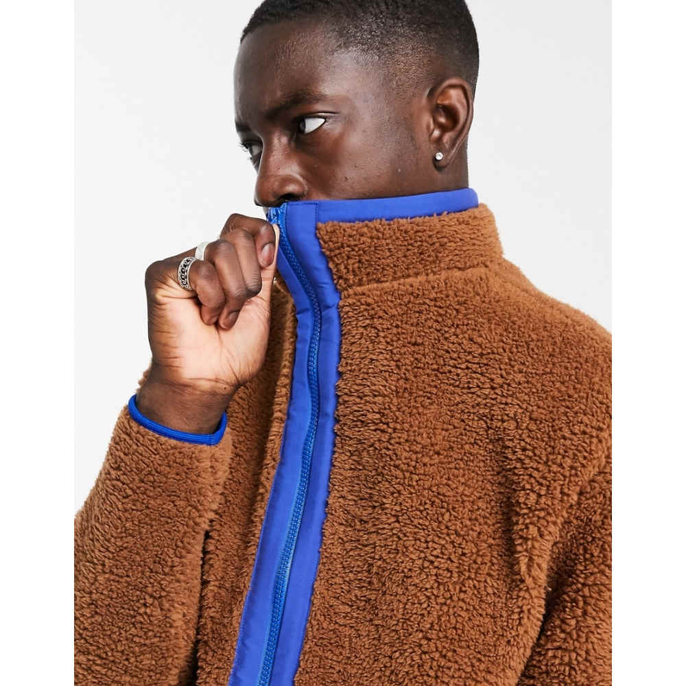 メンズファッション, コート・ジャケット  ASOS DESIGN relaxed teddy borg track jacket in brown with nylon detailsDaschund
