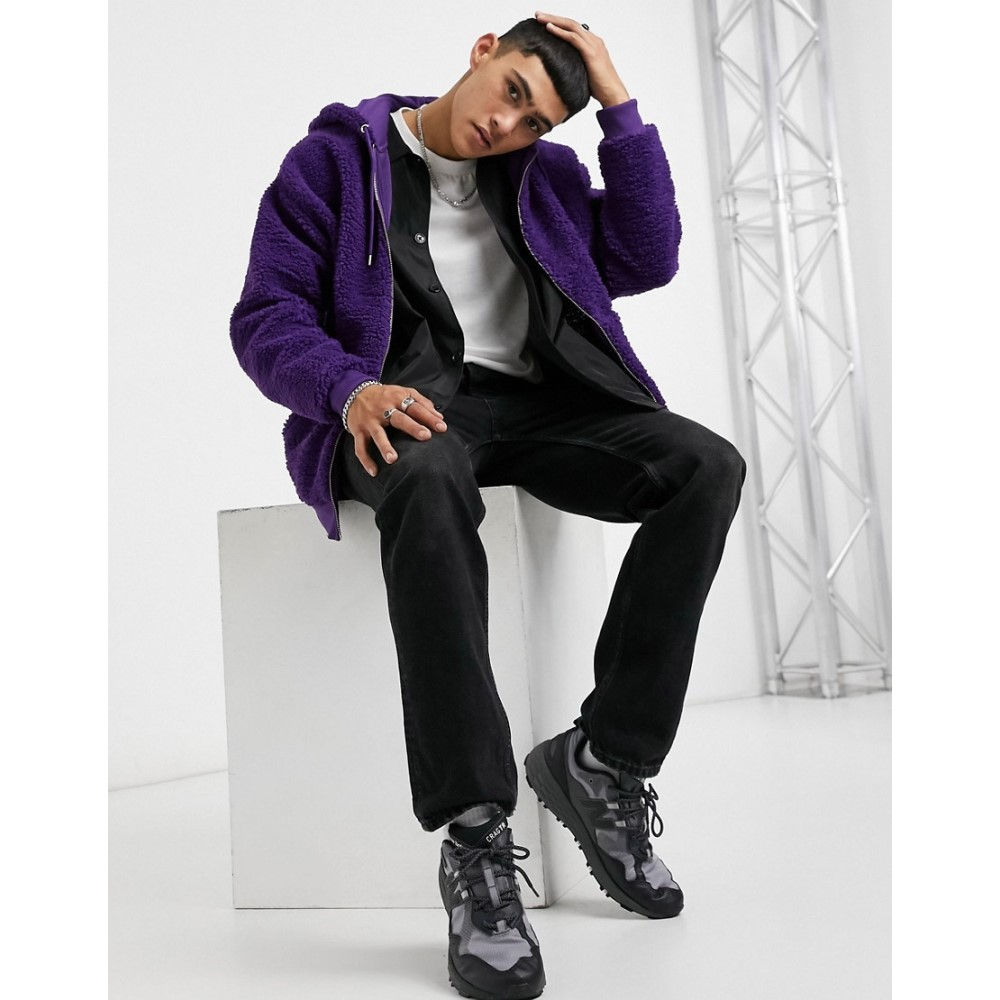 トップス, パーカー  ASOS DESIGN oversized zip up hoodie in bright purple teddy borgMajesty