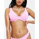 エイソス ASOS DESIGN レディース トップのみ 水着・ビーチウェア【Asos Design Fuller Bust Mix And Match Towelling Step Front Underwired Bikini Top In Pink】Pink