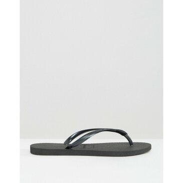 ハワイアナス Havaianas レディース ビーチサンダル シューズ・靴【Black Slim Flip Flops】Black
