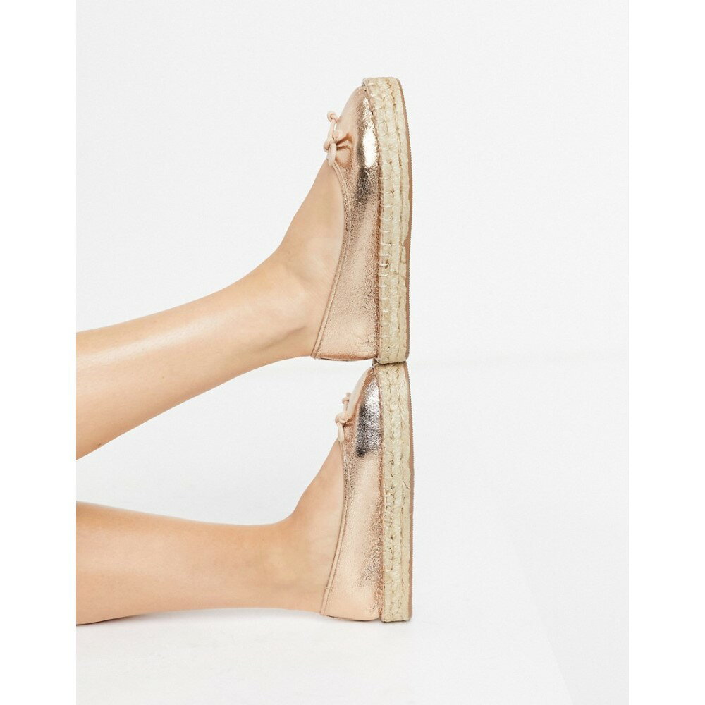 レディース靴, その他  ASOS DESIGN Jojo bow ballet espadrilles in rose goldRose gold