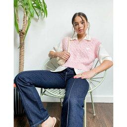 ミンガ Minga レディース ベアトップ・チューブトップ・クロップド ケーブルニット ニット・セーター トップス【London cropped sweater vest in pink cable knit】Pink