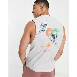 エイソス ASOS DESIGN メンズ タンクトップ トップス【relaxed vest in grey organic cotton with back print】Vapor blue