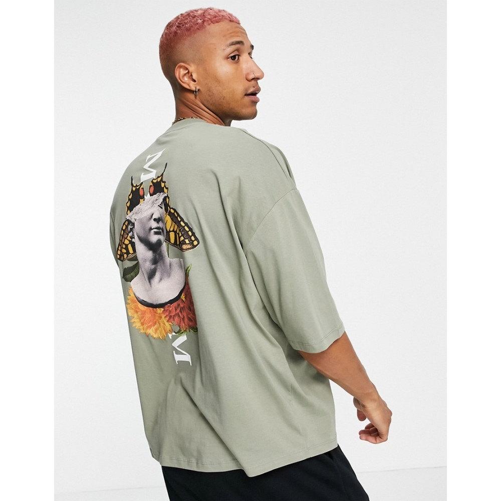 トップス, Tシャツ・カットソー  ASOS DESIGN T Asos Design Oversized T-Shirt In Khaki Organic Cotton With Statue Back PrintVETIVER