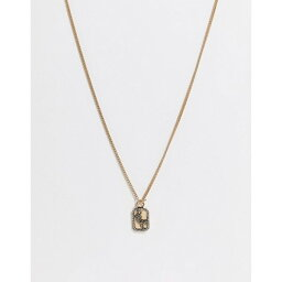 WFTW メンズ ネックレス ジュエリー・アクセサリー【embossed cheetah gold chain t-bar necklace in gold】Gold