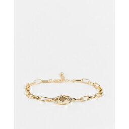 デザインBロンドン DesignB London メンズ ブレスレット ジュエリー・アクセサリー【DesignB metal stone chain bracelet in gold】GOLD