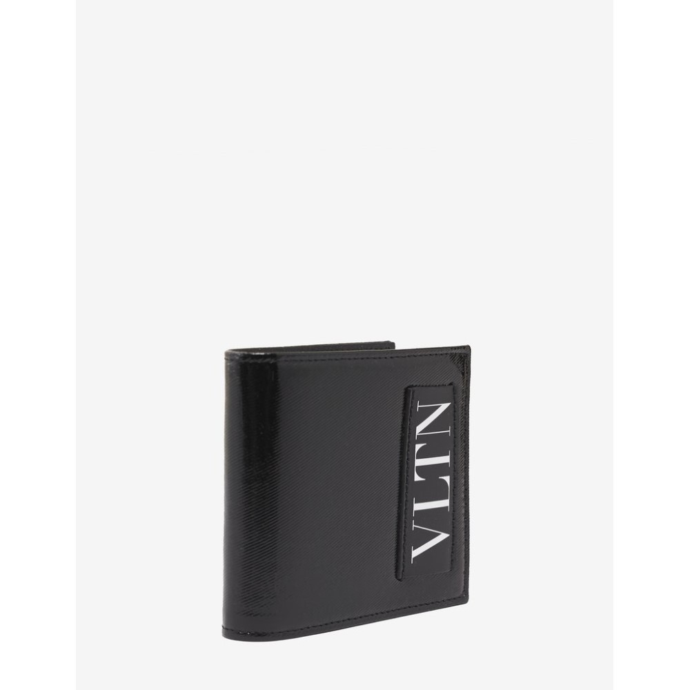 ヴァレンティノ Valentino Garavani メンズ 財布【Patent Leather VLTN Billfold Wallet】Black