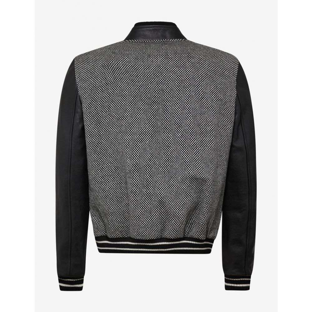 イヴ サンローラン Saint Laurent メンズ アウター ブルゾン【Checkered Wool Varsity Jacket with Leather Sleeves】Grey