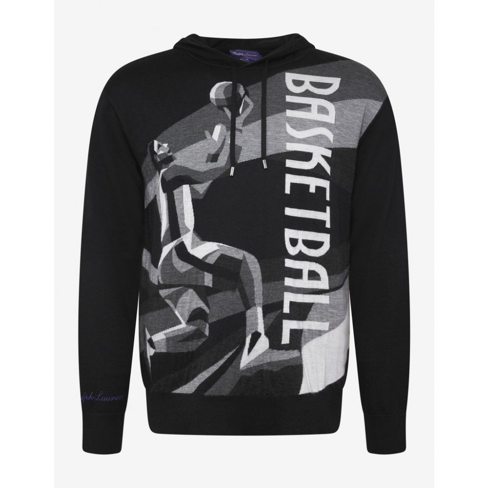 ラルフ ローレン Ralph Lauren Purple Label メンズ トップス パーカー【Black Basketball Graphic Cashmere Hoodie】Black