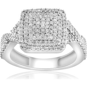ポンペイ Pompeii3 レディース 指輪・リング ジュエリー・アクセサリー【5/8ct Double Cushion Halo Diamond Interwoven Pave Engagement Ring 10K White Gold】