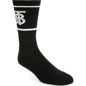 バーバリー BURBERRY メンズ ソックス インナー・下着【Monogram Stripe Crew Socks】Black