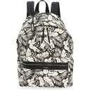 イヴ サンローラン SAINT LAURENT メンズ バックパック・リュック バッグ【Palm Print Canvas Backpack】Black/Off White