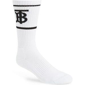 バーバリー BURBERRY メンズ ソックス インナー・下着【Monogram Stripe Crew Socks】White