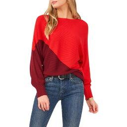 ヴィンス カムート VINCE CAMUTO レディース ニット・セーター トップス【Asymmetric Colorblock Cotton Blend Sweater】Earth Red