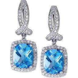 メイシーズ Macy's ユニセックス イヤリング・ピアス ドロップピアス ジュエリー・アクセサリー【Swiss Blue Topaz (6 ct. t.w.) & Diamond (1/2 ct. t.w.) Drop Earrings in 14k White Gold】Blue Topaz