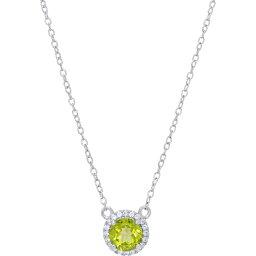 """メイシーズ Macy's ユニセックス ネックレス ジュエリー・アクセサリー【Peridot (3/4 ct. t.w.) & Lab-Created White Sapphire (1/10 ct. t.w.) Halo 18"""" Pendant Necklace in Sterling Silver】Peridot"""