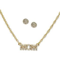 チャータークラブ Charter Club ユニセックス イヤリング・ピアス スタッドピアス ジュエリー・アクセサリー【Gold-Tone Pave Mom Pendant Necklace & Stud Earrings Set】Gold
