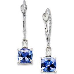 メイシーズ Macy's ユニセックス イヤリング・ピアス ジュエリー・アクセサリー【14k White Gold Earrings, Tanzanite (2-1/5 ct. t.w.) and Diamond Accent Cushion Earrings】No Color