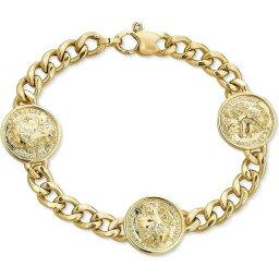 メイシーズ Macy's レディース ブレスレット ジュエリー・アクセサリー【Three Coin Curb Link Bracelet in 14k Gold-Plated Sterling Silver】Gold Over Silver