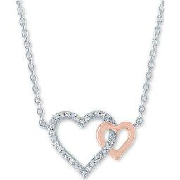 """メイシーズ Macy's ユニセックス ネックレス ハート ジュエリー・アクセサリー【Diamond Accent Double Heart 18"""" Pendant Necklace in Sterling Silver & 14k Rose Gold-Plate】Sterling Silver"""
