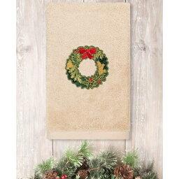 リナムホームテキスタイル Linum Home ユニセックス タオル 【Christmas Wreath Embroidered 100% Turkish Cotton Hand Towel】Sand