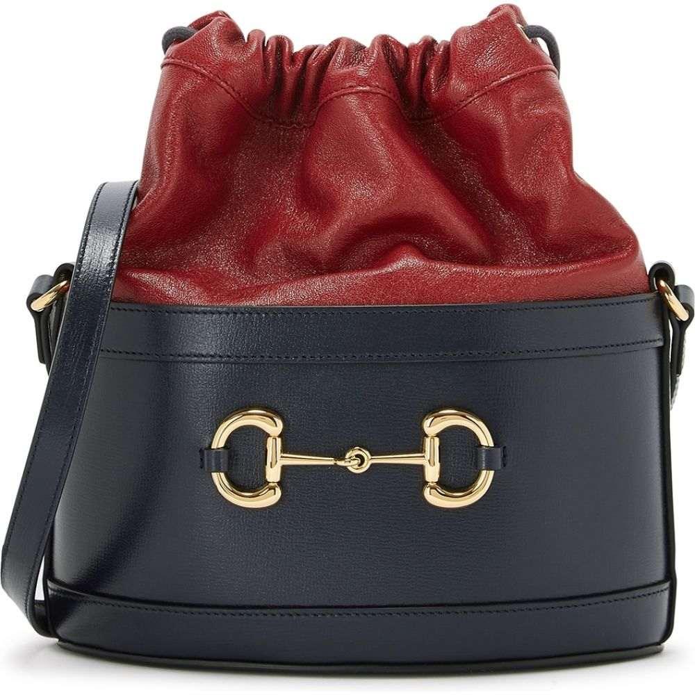 レディースバッグ, その他  Gucci Morsetto Small Navy Leather Bucket BagBlue