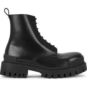 Balenciaga Women's Boots Ankle Boots Shoes/Shoes [Strike 50 Black Leather Ankle Boots] Black