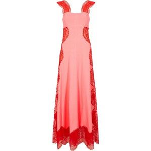 ジバンシー Givenchy レディース パーティードレス ワンピース・ドレス【Pink Lace-Trimmed Stretch-Knit Gown】Pink
